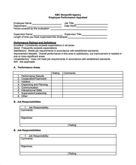 sle employee performance evaluation template 7 free