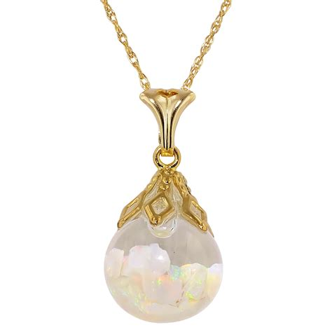 floating opal necklace in 14kt yellow gold