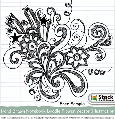 flower doodle ai notebook doodle flower vector illustration free