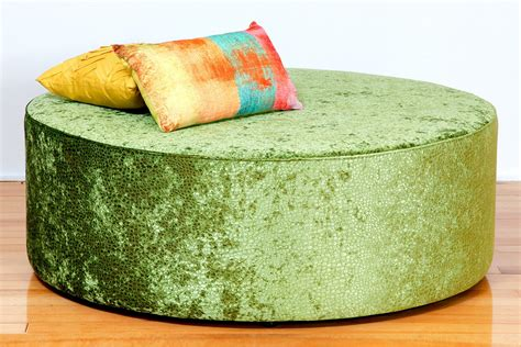 Oreo Large Round Upholstered Fabric Or Leather Ottoman