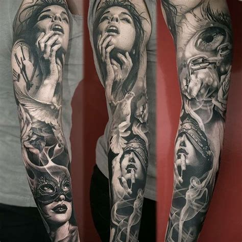 1 4 sleeve tattoo black and grey realistic sleeve by meyerviktor