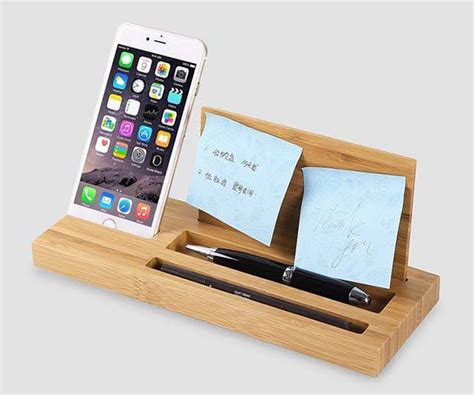 desk phone stand organizer bamboo desk organizer with integrated phone holder gadgetsin