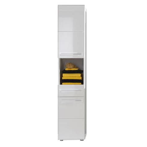 bora tall bathroom cabinet in white with high gloss fronts