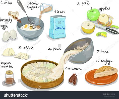 apple pie step by step recipe stock vector 212963872 shutterstock