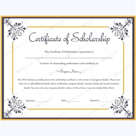 Certificate of Scholarship 06   Word Layouts