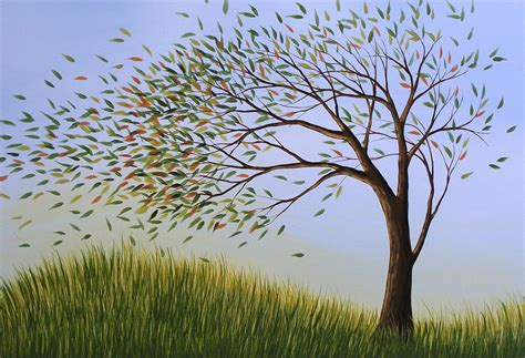 contemporary tree art blowing away painting by amy giacomelli