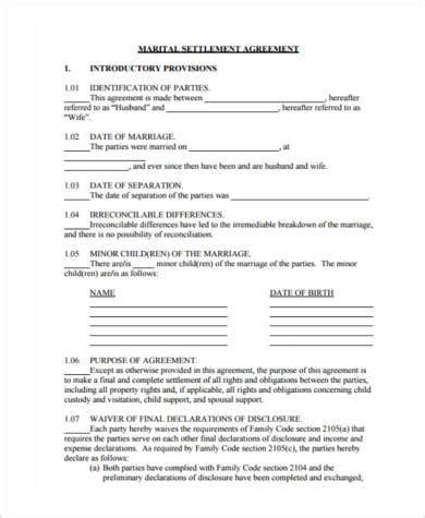 separation agreement form separation agreement sle forms 8 free documents in