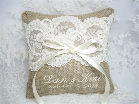 Personalized Ring Bearer Pillows by Personalized Burlap Ring Bearer Pillow Lace By