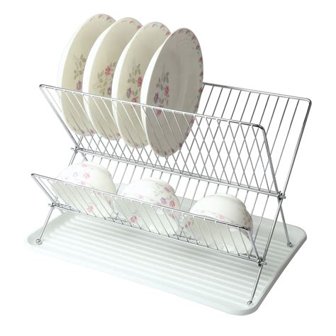 Wire Dish Rack by Mega Chef Wire Dish Rack With Plastic Tray White Shop Your Way Shopping Earn