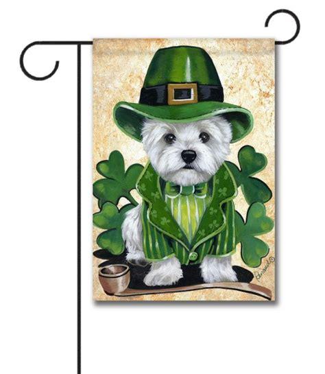 west highland terrier st patricks day garden flag