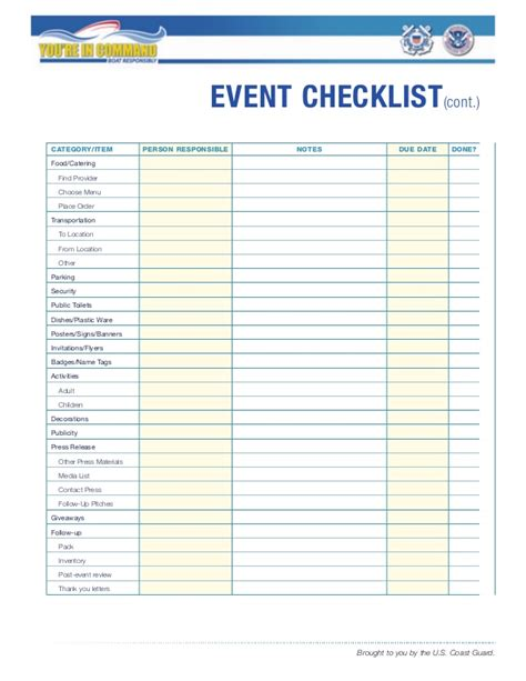 events checklist template event checklist