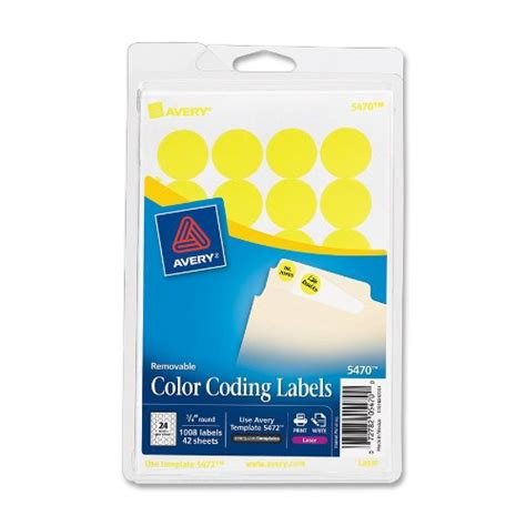 template for avery color coding labels avery round color coding labels 3 4 in neon yellow 1008