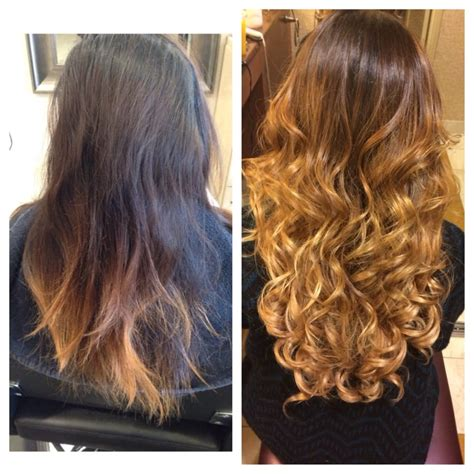 hair extensions with keratin bonds before and after corrective color then keratin bond hair