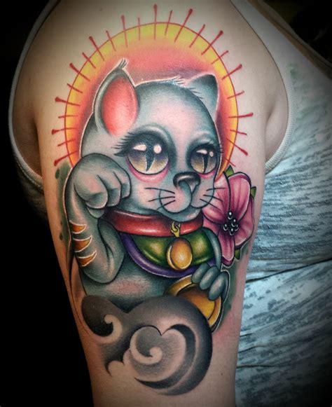 Tattoo New School Cat   new school fortune cat done by me josh herman good