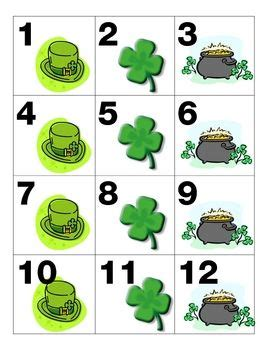 pattern calendar numbers march calendar pieces shamrock pot of gold leprechaun