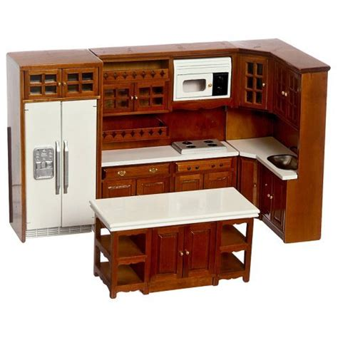 walnut kitchen dollhouse miniature set walmart