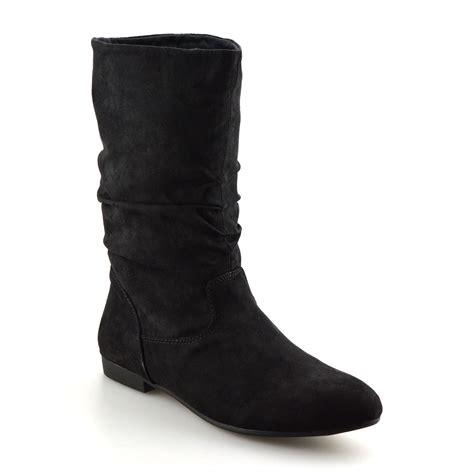 Flat Shoes Wanita Suede Lucuunikmurah womens faux suede mid calf low flat heel slouch boots shoes size ebay