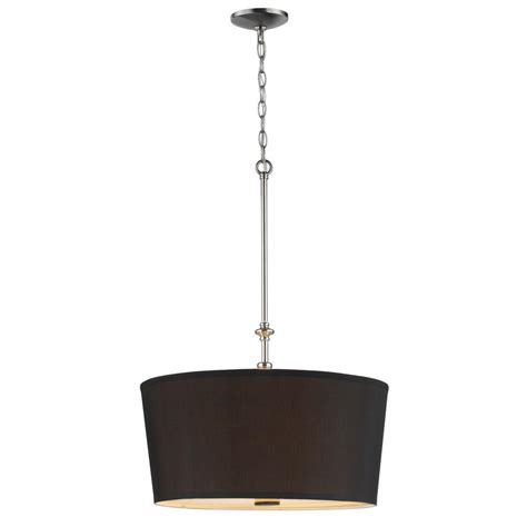 Fabric Shade Pendant Light Bel Air Lighting Cabernet Collection 3 Light Brushed Nickel Pendant With Black Fabric Shade And