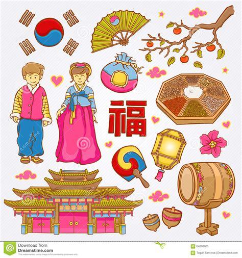 doodle korea korean nature and culture icons doodle set illustration