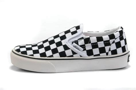 cheap vans mens classic checkerboard slip on shoes black