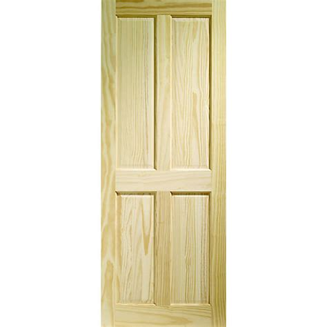 Softwood Interior Doors Softwood 4 Panel Clear Pine Door 1981mm X 838mm X 35mm Travis Perkins