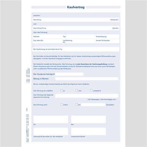 Kaufvertrag Auto Im Auftrag by Kaufvertrag F 252 R Vermittlung 25 St 252 Ck Block