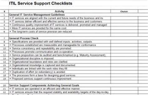 itil v3 templates itil checklist and process template six sigma