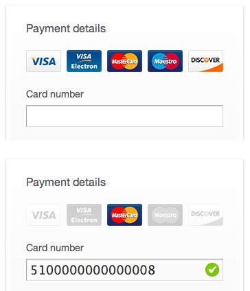 Credit Card Type Format form field techniques to user input