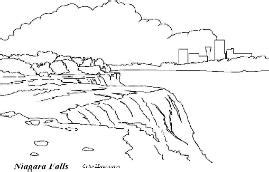 United States Land Marks Coloring Page And Facts Niagara Falls Coloring Page