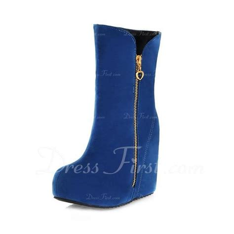Wedges Boots Zipper Blue suede wedge heel wedges ankle boots with zipper shoes