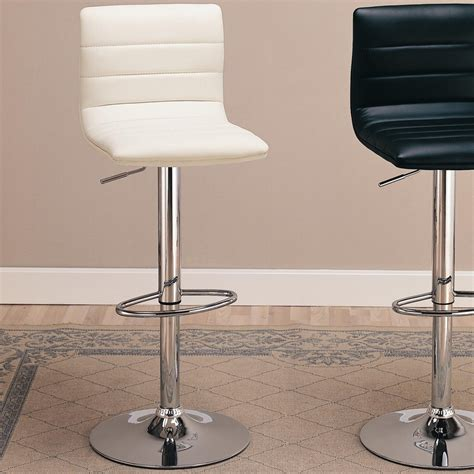 Silver Leather Bar Stools by Coaster 120345 Silver Leather Bar Stool A Sofa