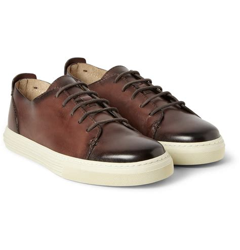 mens brown sneakers lyst gucci burnished leather lowtop sneakers in brown