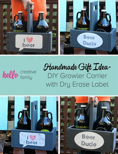 Handcrafted Gift Ideas - handmade gift idea diy growler carrier with erase