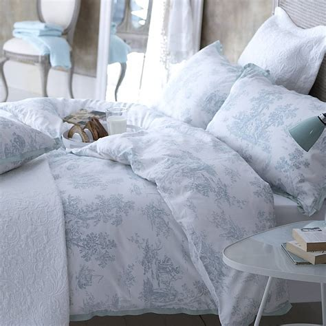 blue toile comforter blue toile bedding blue toile bedding on a bed toile
