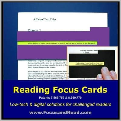 Reading Focus Card Template by Reading Focus Cards Adda Attention Deficit Disorder