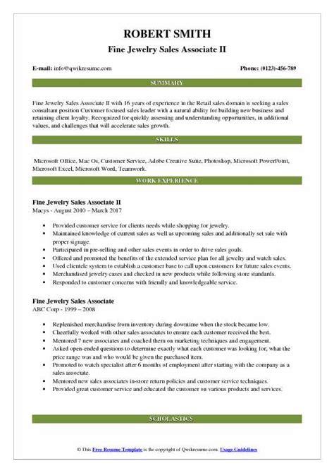 Jewelry Sales Associate Description Resume