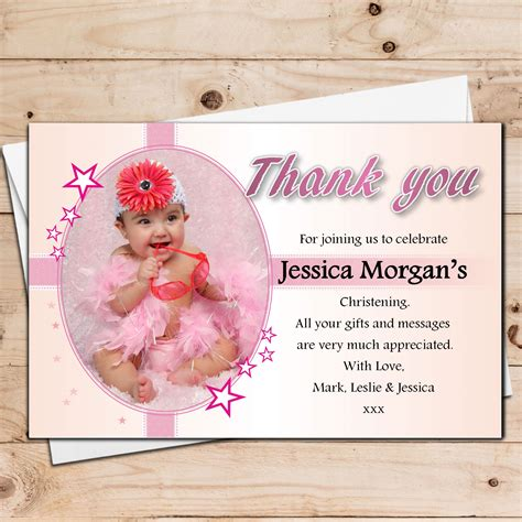 Thank You Cards For Christening Gifts - 10 personalised girls christening baptism photo thank you cards n30