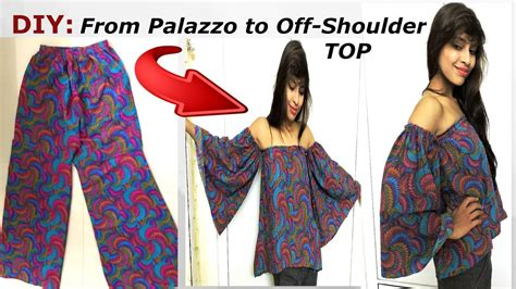 7 Tips For Recycling Clothes by Diy Convert Recycle Palazoo Into Shoulder Top