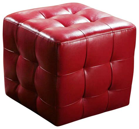 red ottomans bonded leather tufted ottoman red transitional