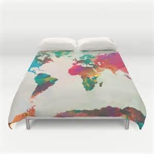 watercolor world map duvet cover