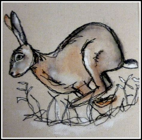 lynne white loopy s running hare embroidery