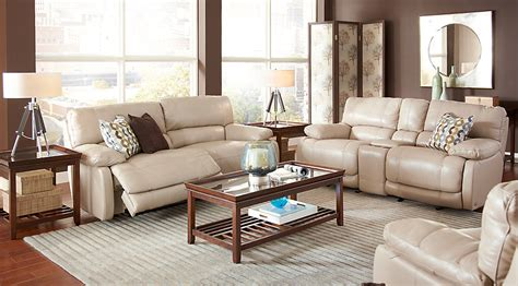 5 Pc Living Room Set Home Auburn Taupe Leather 5 Pc Reclining Living Room Living Room Sets Beige