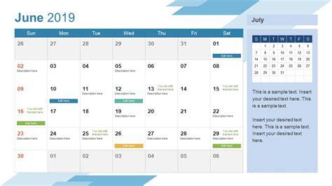 june powerpoint calendar slidemodel