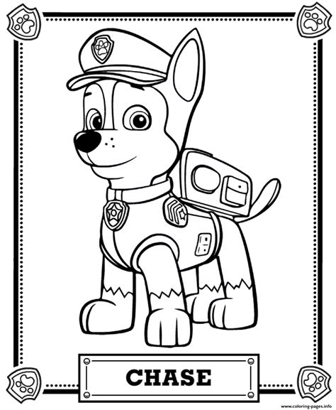 printable paw patrol paw patrol chase coloring pages printable