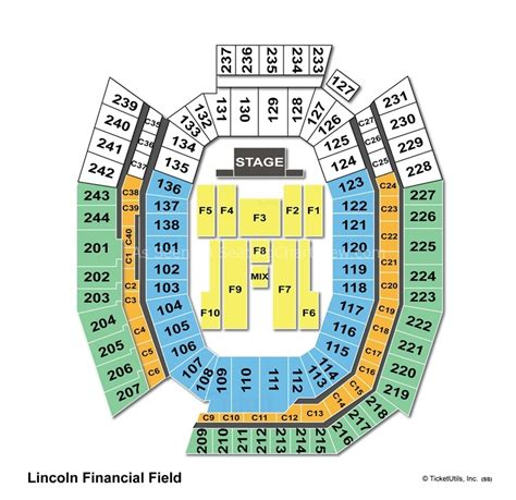 seating capacity of lincoln financial field lincoln financial field philadelphia pa seating chart view