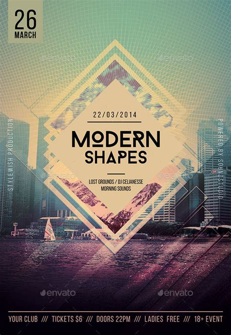20 Modern Psd Geometric Flyer Design Templates Print Idesignow Modern Flyer Template