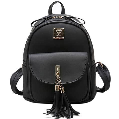 Pocket School Backpack 0318 simple tassels college bag front flap pocket school backpack fashion backpacks