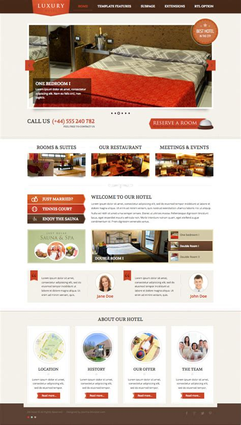 jm hotel joomla template for luxury restaurants rooms