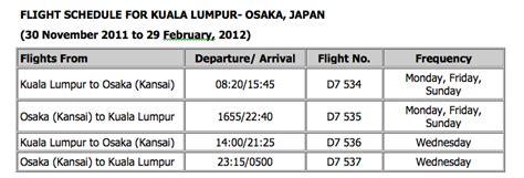 airasia schedule airasia x flies from kuala lumpur to osaka