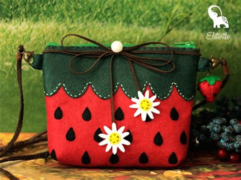 Felt Handmade Craft - and green summer strawberry and style shoulder